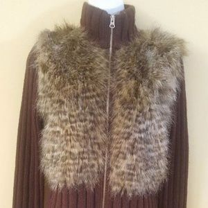 NEXT ERA Faux Fur Knit Zip Up Brown Jacket Sweater